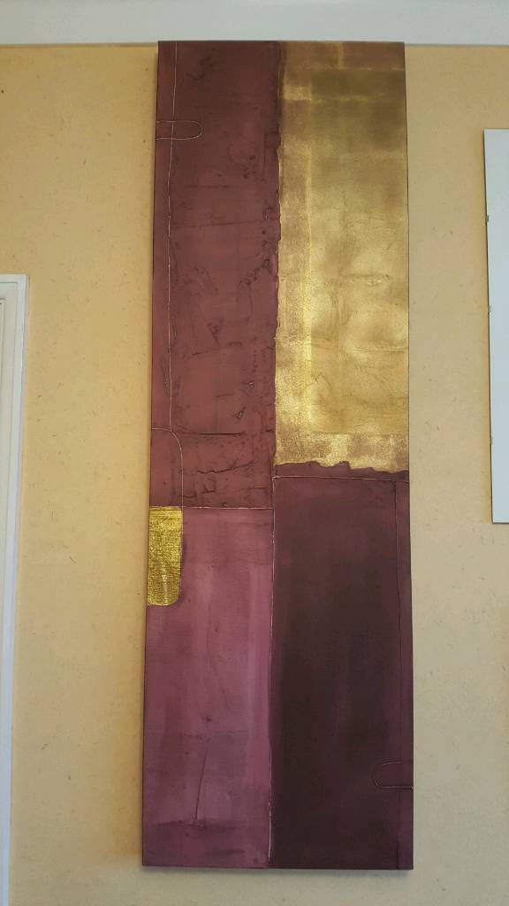John Lewis abstract picture in plum and gold