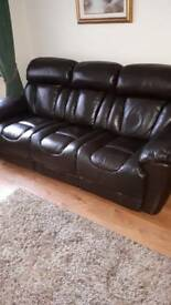 Brown Leather 3-2-1 Electric Recliner Sofa Suite