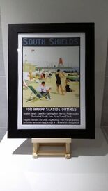 VINTAGE STYLE FRAMED SOUTH SHIELDS RAILWAY POSTER PRINT - NEW