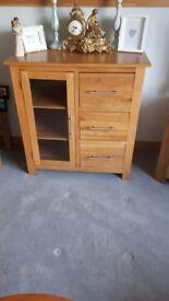 Solid Oak Sideboard - 3 Drawers & Glass Door