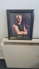 Vin diesel signed photo with original film cells framed with coa
