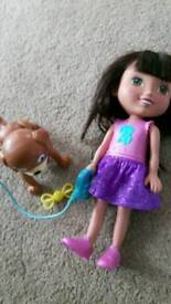 Dora and training dog Pedro