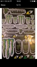MONSTER ENERGY STICKERS SHEETS NEW