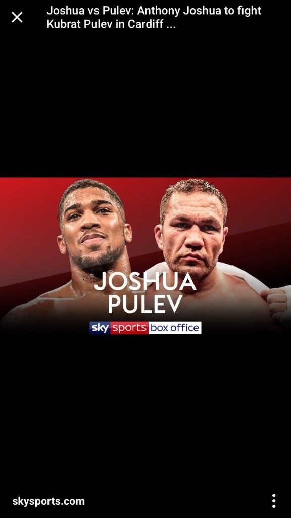 Anthony Joshua Cardiff Hotel stay x2 nights 27th & 28th October
