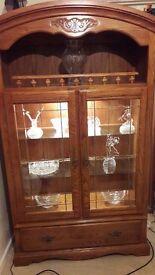 Large teak display cabinet