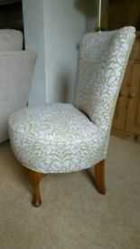 Vintage nursing/bedroom chair, beautifully upholstered in a green and white linen fabric