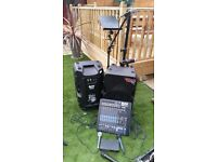1600w PA SYSTEM - COMPLETE WITH MIXER, MICS, STANDS AND LEADS
