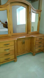 Solid Oak Dresser and Stool