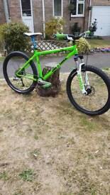 on one hardtail mountain bike