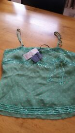 TED BAKER GREEN 100% SILK CAMI TOP. SIZE 2. BRAND NEW.