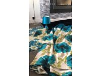Teal flower Bedding, Curtains, Lamp, Set