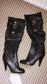Ladies Knee High Leather Boots by Charles David UK Size 4.5 Brand New Never Worn