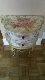 Shabby Chic Bedside Table With Pink Floral Design