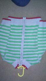 green and grey stripped zip up cardie 4-5 y
