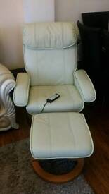Leather Massage Recliner Chair with Remote and Footstool in VGC