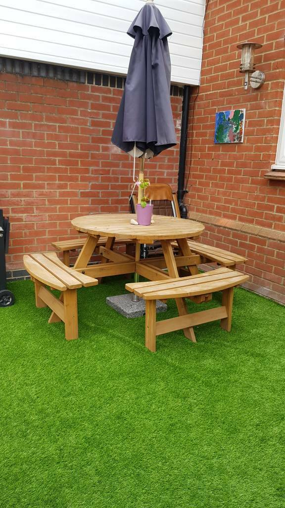 Pub Maribelle 8 Seater Stained Pine Round Wooden Bench Picnic Table Patio For Garden Home Garden Store Garden Furniture Sets