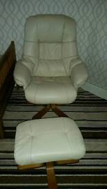 Leather chair with foot stool