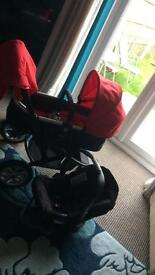 Red And Black mothercare Pram