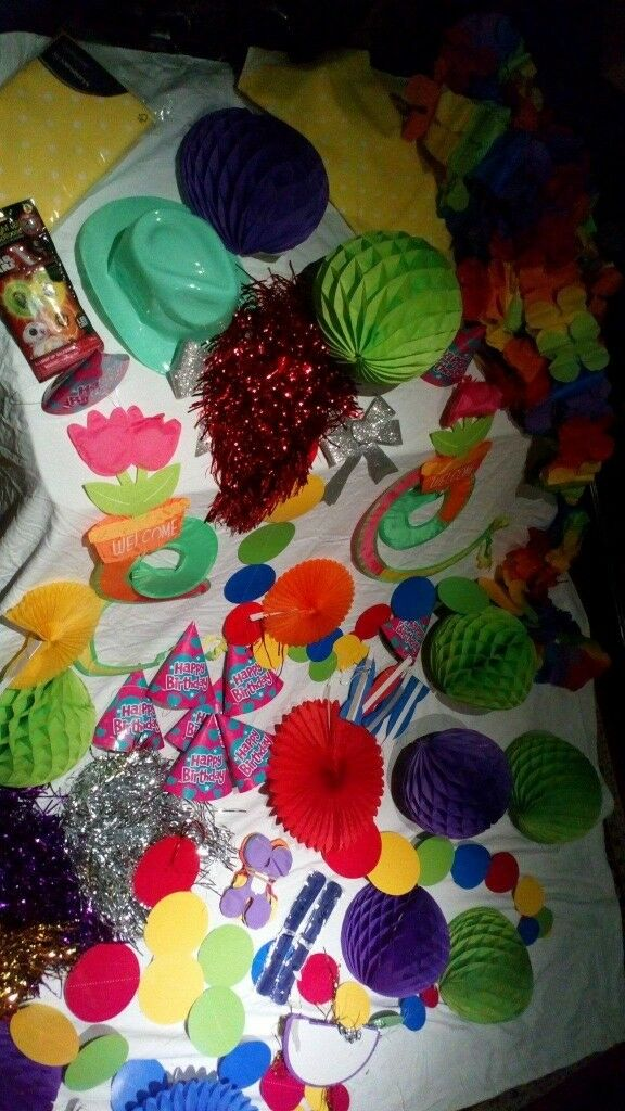 Lots of party decorations.