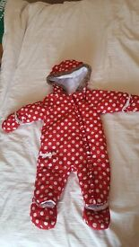 6-9 month girls snow suit / pram suit red and white excellent condition