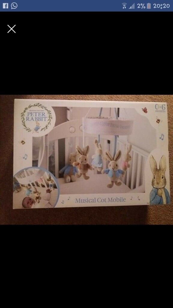 Peter rabbit cot mobile - ideal for baby boy nursery