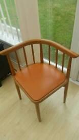 4 retro unusual Ercol style orange corner chairs