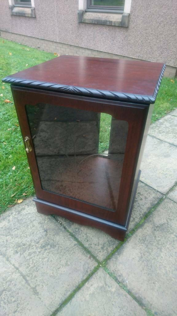 Entertainment unit, Hifi cabinet, shelving case with cut glass front