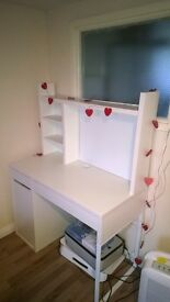 White IKEA assembled desk and desk shelf. Four months old in great condition.