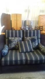 Black and Grey striped two seater sofa with Matching Armchair
