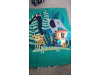 Toddler safari bedset with matching curtains and lampshade