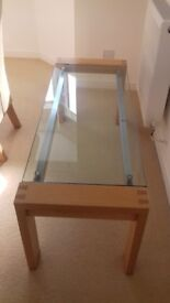 Oak and glass coffee table.