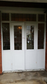 Reclaimed Pair of External Edwardian French Windows or doors and surrounding leaded glass