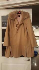 Oasis Beige Flare Coat - Size Medium