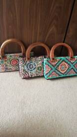 Set of 3 pretty evening bags