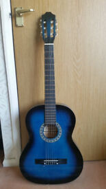 SIERRA BLUE GUITAR AND RITTER BLACK PADDED CASE BOTH IN VERY GOOD CONDITION.