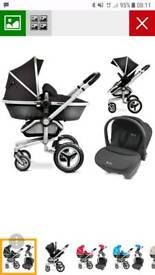 Surf 2 travel system with black colour pack and isofix
