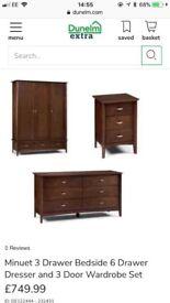 Julian Bowen Minuet Dark Walnut 3 Drawer Wardrobe, 6 Drawer Dresser & 2 Bedside Cabinets