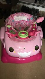 Pink Car Sit-In Baby Walker