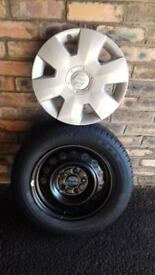 new wheel tyre and trim never used. bought for Suzuki SX4 5 stud. size. 195/65 R15