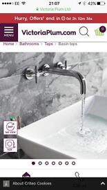 Alexa wall mounted basin filler tap - Victoria plum