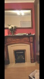 Free Oak Mantelpiece and Marble Surround