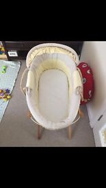 Mama and papa's Moses basket and stand, used but in excellent condition, no marks.
