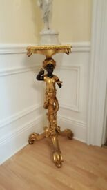 ornate gold lamp table, blackamoor torchere