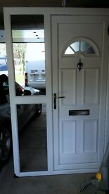 White UPVC Front door with glazed side panel