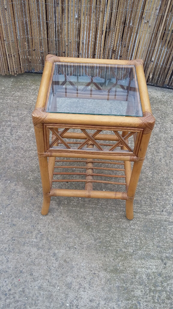 Small Bamboocane Side Table With Glass Top In Sunderland Tyne