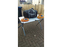 Assorted caravan equipment inc Porch Awning, Hook up cables & folding Camping table
