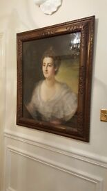 large antique painting, portrait of lady Darley, in original frame, 19th century