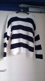 Ladies size 14 cream and blue jumper