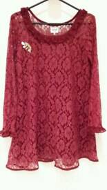Brand new Maroon Net Tunic with Broach!