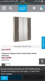 High gloss 4 drawer wardrobe and six drawer high gloss unit